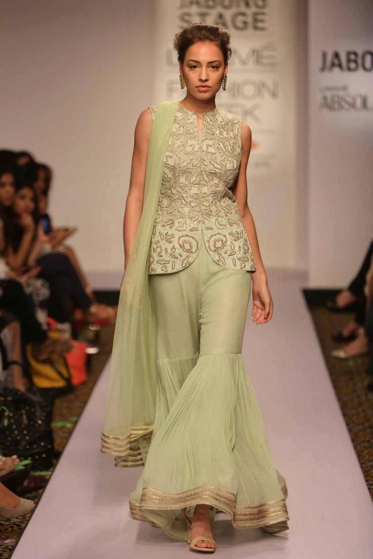 Mint green embroidered jacket with sharara pants available only at Pernia's Pop-Up Shop.