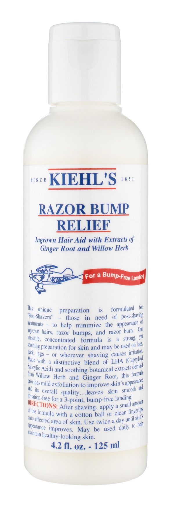 Ingrown hair aid and razor burn treatment. A strong yet soothing preparation for skin. Provides mild exfoliation to improve skin's appearance and reduce irritation. May be used on face neck legs or wherever shaving causes irritation. 4.2 oz (125 ml)