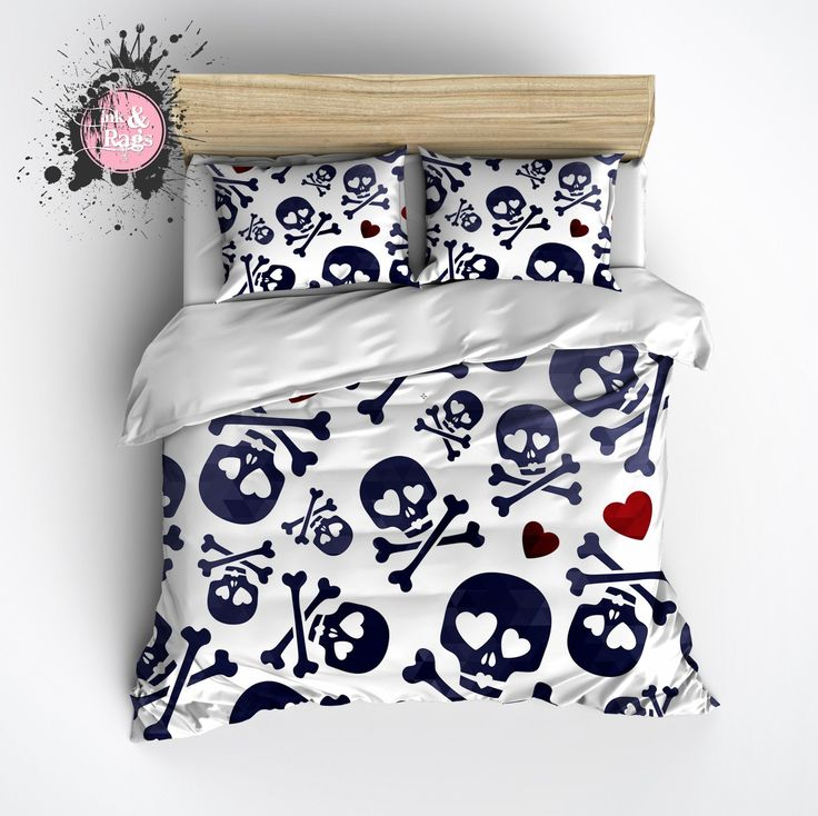 Blue Skull and Crossbone with Red Hearts Kids Duvet Bedding Sets