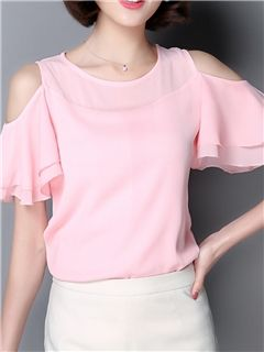 Ericdress Slim Off-Shoulder Chiffon Blouse