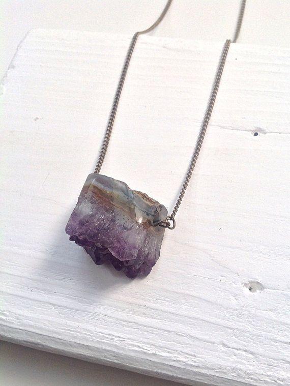 Amethyst slice gemstone necklace by Littlespaniel on Etsy