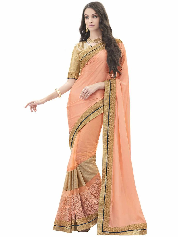 • Fabric: Satin Chiffon Peach Color Saree • Size : 5.5 mtr saree :: 0.80 mtr blouse • Easy to wash • Perfect Finshing just as shown in picture • Color:Peach