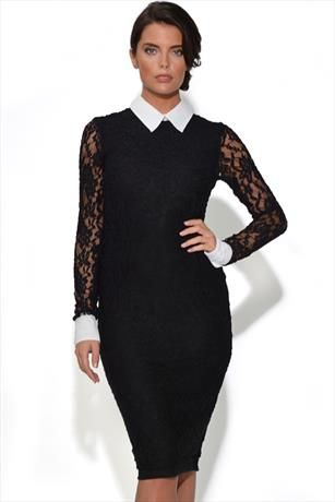 Just had to pin this Cuffed Lace Midi Body Con Dress from www.vestryonline.com/