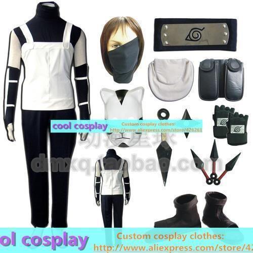 Kakashi cosplay naruto clothes face mask gloves shoes mask full set Clothes  clothing(China (