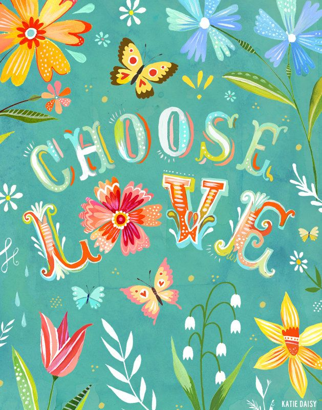 Turquoise Choose Love  Vertical Print by thewheatfield on Etsy
