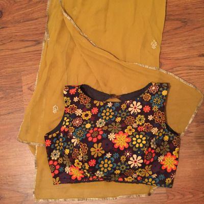 printed bateau / boat neck saree blouse design with plain saree