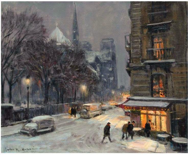 Jules Rene Herve (French, 1887-1981). Notre dame sous la neige. Oil on canvas. 45.9 x 55.3 cm - Жюль Рене Эрве (1887-1981). Нотр-Дам в снегу. Холст, масло. 45,9 х 55,3 см