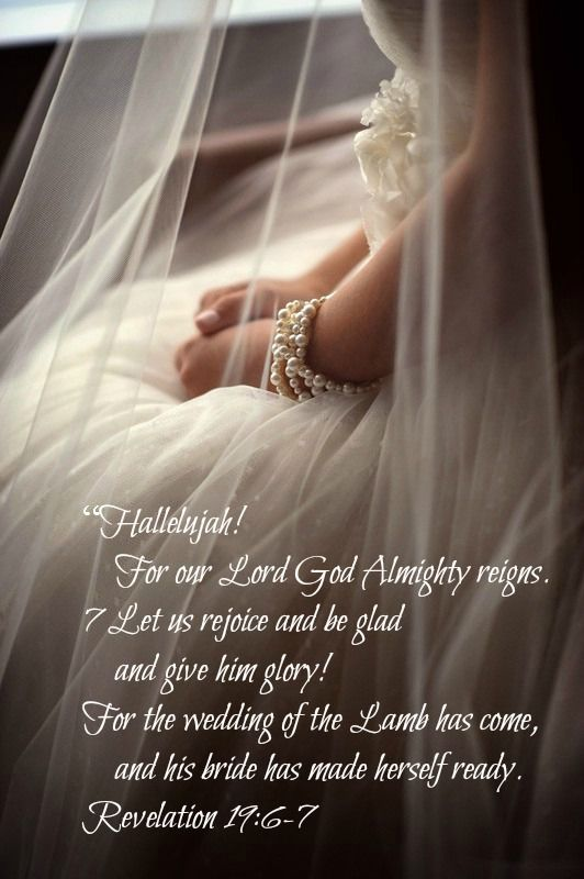 """And I heard as it were the voice of a great multitude, and as the voice of many waters, and as the voice of mighty thunderings, saying, Alleluia: for the Lord God omnipotent reigneth. Let us be glad and rejoice, and give honour to him: for the marriage of the Lamb is come, and his wife hath made herself ready.""  Revelation 19:6-7"