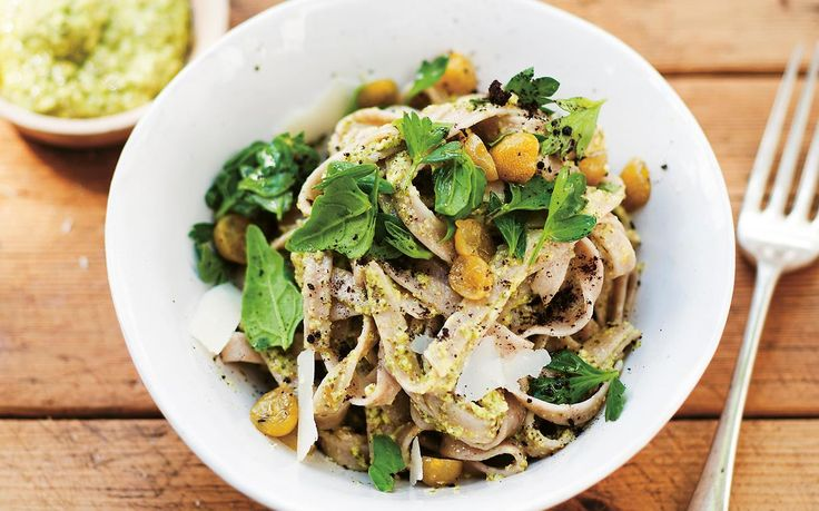 This delicious pasta recipe from Simon Bryant's book, 'Veggies' features a few harder-to-get ingredients, but the beauty of the native ingredients in this dish is that they stand up to the robust wholemeal pasta, which can sometimes overpower pasta sauces with its earthiness.