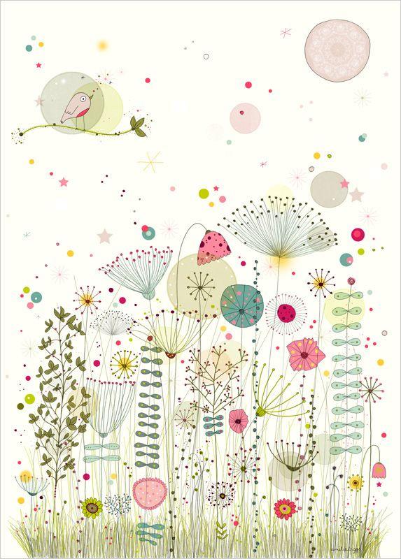 Jardin enchanté ~ artist Biggs Amélie. A little whimsy . . . . ღTrish W ~ http://www.pinterest.com/trishw/ . . . . #art #journal