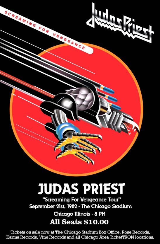 Judas Priest 1982 Chicago Stadium Screaming For Vengeance Tour Collectible Stand-Up Display Heavy Metal Rock Concert Hair Bands Posters