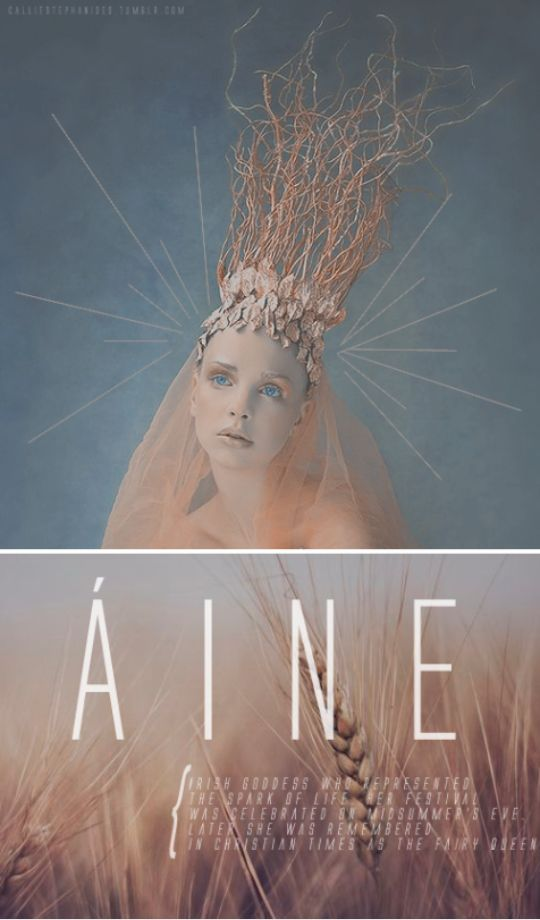 Áine is an Irish goddess of summer, wealth and sovereignty. She is the daughter of Egobail, the sister of Aillen and/or Fennen, and is claimed as an ancestor by multiple Irish families. As the goddess of love and fertility, she had command over crops and animals and is also associated with agriculture.