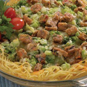 MorningStar Farms® Spaghetti Broccoli Quiche Recipe