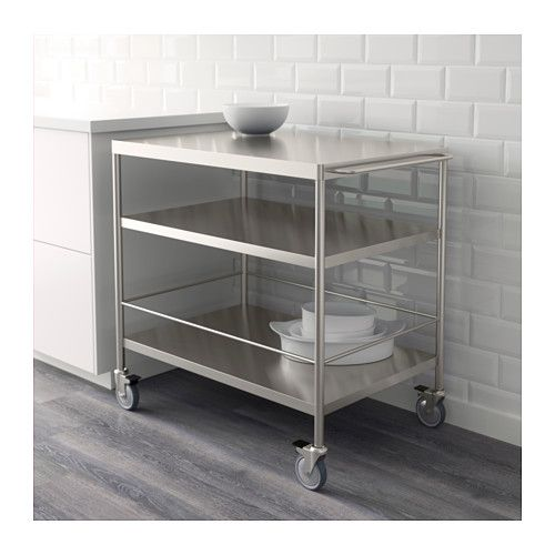 FLYTTA Kitchen cart IKEA Gives you extra storage, utility and work space. Lockable casters for high stability.