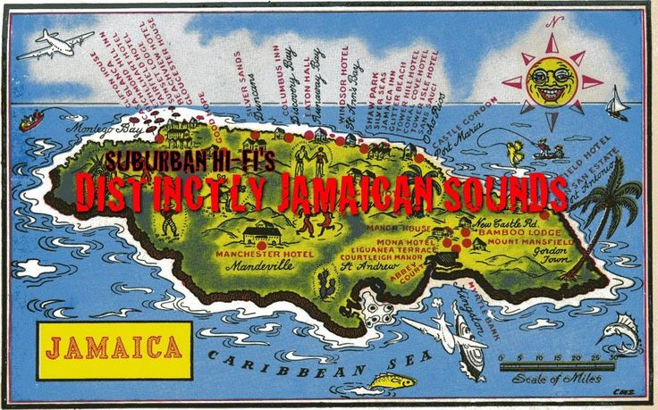 distinctly jamaican sounds map postcard