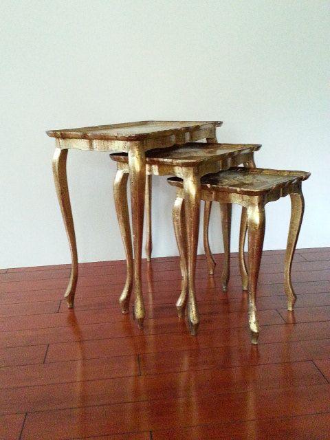 Florentine Nesting Tables Gold Gilt And Cream Vintage Mid