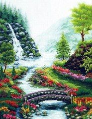 cross-stitch pattern free download as pdf file with waterscape