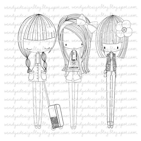 City Girls by alldressedupstamps on Etsy