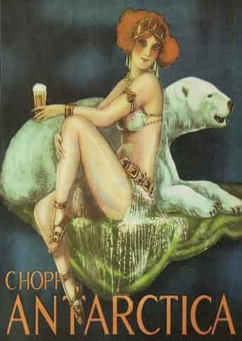 CERVEJA - ANTARCTICA - Deusa ruiva com urso polar