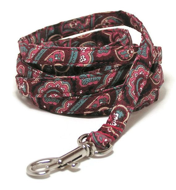 XS Leash  Vintage Wine Paisley  XS 3/8 wide 4 or 6 by PawsnTails, $23.00
