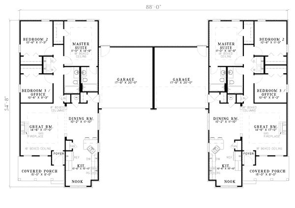 Multi family plan 62375 mobiles floor plans and floors for Multifamily plans