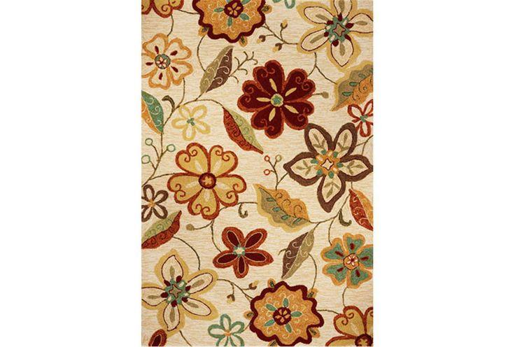 Meridian Ivory Rug - large flower print rug with red
