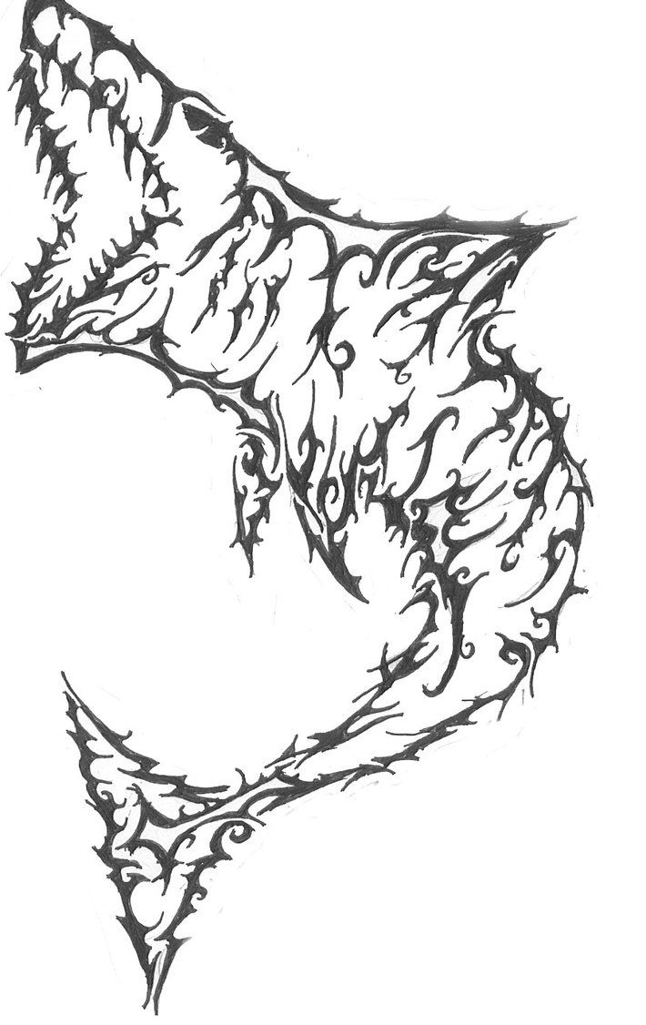 Tribal shark coloring sheet