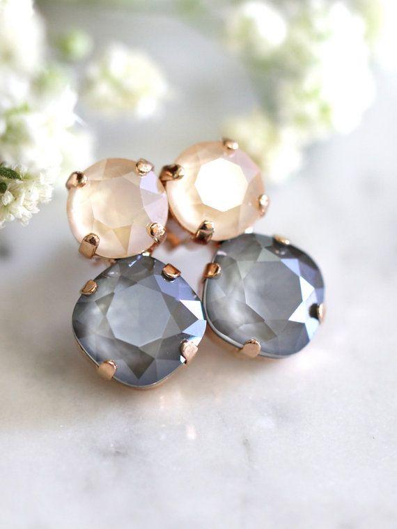 Gray Earrings Bridal Gray Earrings Gray Nude Earrings by iloniti