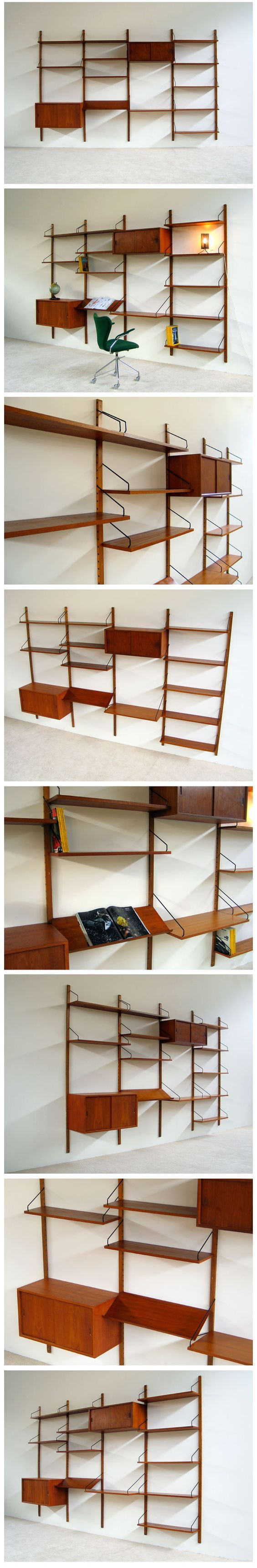 Danish modern teak floating wall unit Designed by Poul Cadovius for ROYAL SYSTEM: