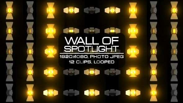 Wall of Spotlight Video Animation | 12 clips | Full HD 1920×1080 | Looped | Photo JPEG | Can use for VJ, club, music perfomance, party, concert, presentation | #3d #dance #disco #glow #gold #lamp #loop #music #orange #pattern #rave #sequence #spotlight #vj #wall
