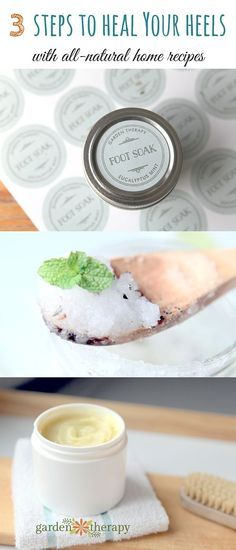 Natural recipes for a herbal foot soak, peppermint foot scrub, and a healing foot balm. Use them each week to repair dry, cracked heels, naturally. I love using natural herbs to heal and find that many times they work better for me than what you can buy at the drugstore. If your heels are dry and cracked, give this 3-step routine a try and get ready for flip flop season! #sponsored