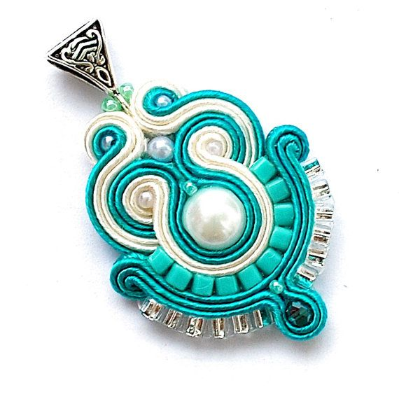 Soutache pendant ecru turquoise delicate by DecomamaPoland on Etsy