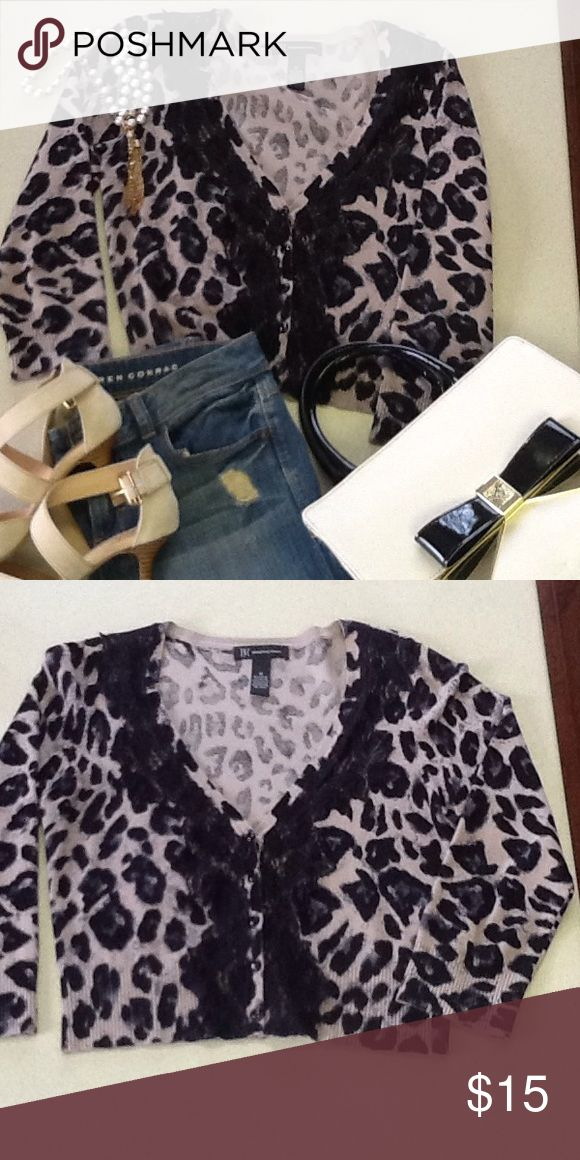 Great little crop top cardigan💕 Fabulous cardigan to wear with jeans or dress up to go out, animal print with just enough lace 💕💕 INC International Concepts Sweaters Cardigans