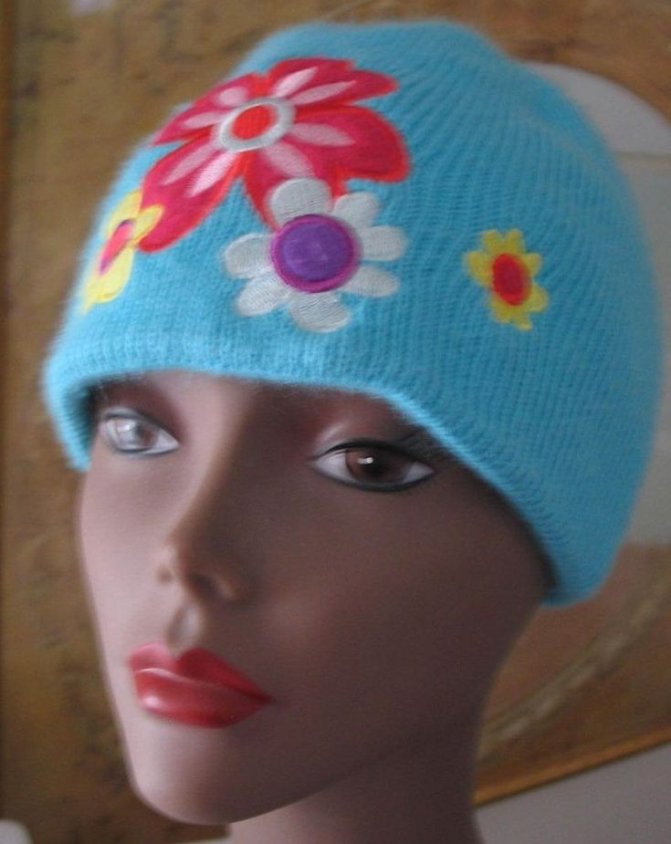 Girls Women Ski Hat Beanie Cap Acrylic Turquoise w Embroidered Flower  One Size  #Unbranded #skihat