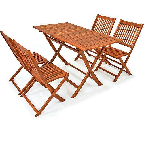 5Piece Acacia Wood Dining Set Patio Folding Table & Chairs Furniture Outdoor New #SmartDealsMarket