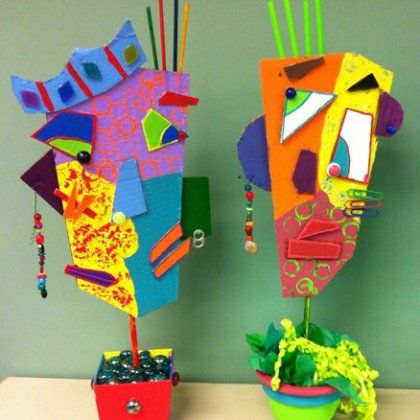 Picasso Art - These super creative masks use a mixture of small objects, colors, and cardboard to create vivid and beautiful art!