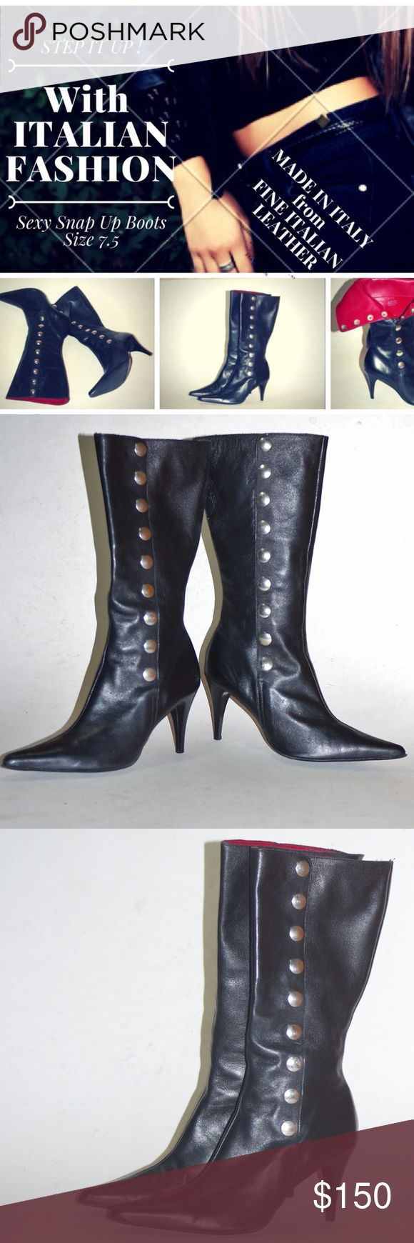 STATEMENT Black Leather Boots Glam Italy Heels 7.5 STATEMENT Black Leather Boots Glam Italy Heels 7.5 SMASHING STATEMENT STYLE! By Lady Shoes Made in Italy Fine Glove Tanned Italian Leather Stunning silver snaps all the way up! Unworn-No box or packaging (have been tried on and walked in, if they fit me they wouldn't be going anywhere!) Sexy Structured Italian Designer Fashion Boots Stiletto Heels Partial tag still on inside and bottom of soles (paper) SMASHING STATEMENT STYLE! Italian Lady…