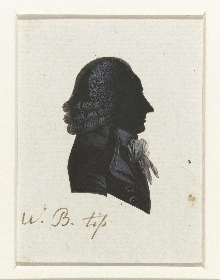 anoniem | W.B. Tip, possibly Hausdorff, 1796 | Silhouet van borstbeeld in profiel naar rechts. Kort tot op de schouder hangend en aan de onderzijde in drie rollen gekruld haar. Gestrikte das. Opschrift; o.: W. B. Tip.