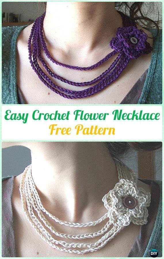 Easy CrochetFlower Necklace FreePattern  - #Crochet; #Jewelry Necklace Free Patterns