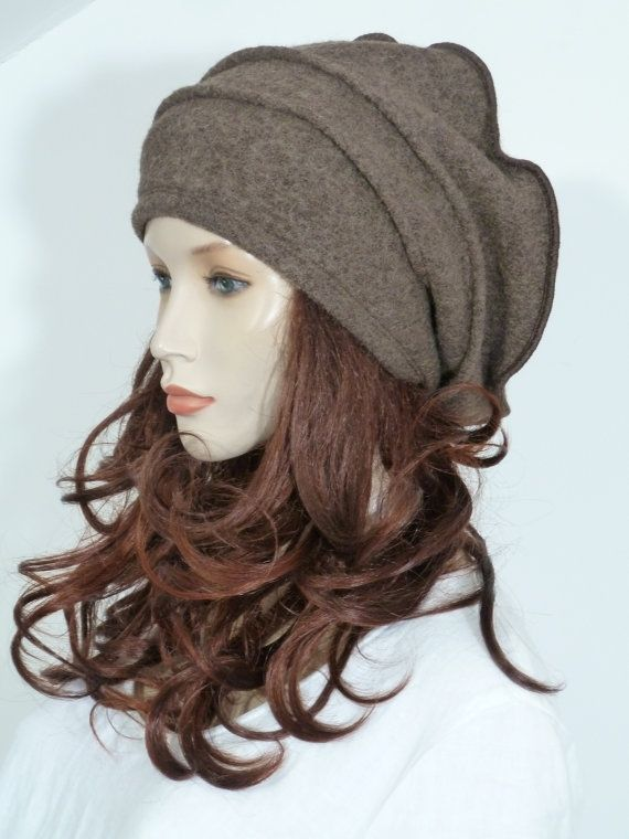 Most unusual effortlessly chic lagenlook fawn boiled wool slouchy beanie hat which can be worn in various fearlessly stylish ways.    This fabulous