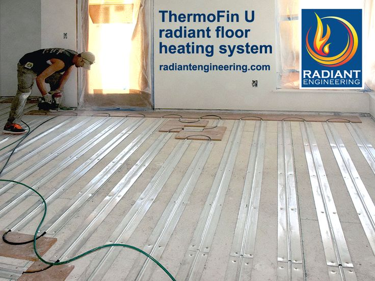 Radiant floor heating system with ThermoFin U extruded aluminum heat transfer plates - free six inch samples from radiantengineering.com.