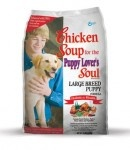 Large Breed Puppy Food Formula - Chicken Soup for the Pet Lover's Soul    Ridiculous name, fantastic dog food. No corn fillers, natural whole-foods ingredients, packed with vitamins and minerals +omega fatty acids. My pup absolutely loves it, the vet always compliments his health & people love his beautiful coat. They make cat food too!