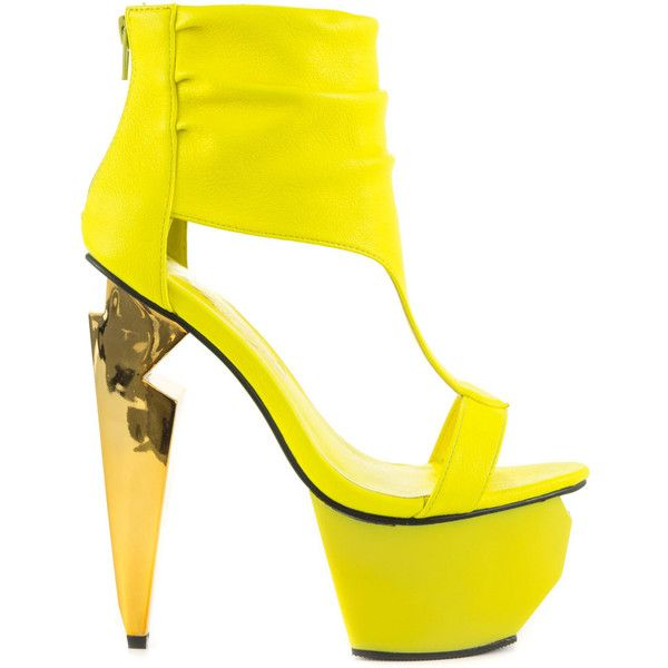 Privileged Women's Zeta - Neon Yellow (€93) ❤ liked on Polyvore featuring shoes, yellow, metallic platform shoes, t bar shoes, yellow leather shoes, metallic shoes und yellow shoes