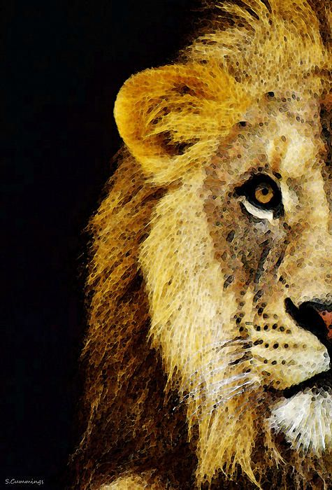 Lion Art - Face Off by Sharon Cummings.