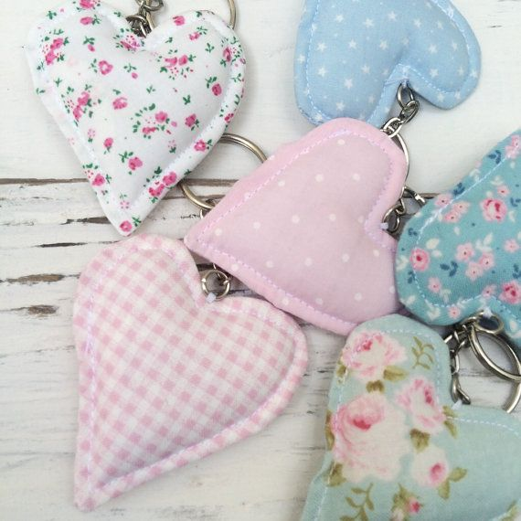 Fabric Heart Wedding Favours Keyring Pastel by shopwillynilly