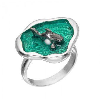 Handmade silver fish ring 925o with fresh water pearl and enamel. - Χειροποίητο ασημένιο δαχτυλίδι με ψάρι από ασήμι 925ο με σμάλτο.