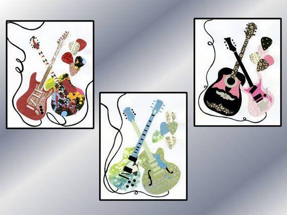 Baby Nursery Guitar Wall Art Pink & Black Guitar by LuminaGallery, $14.00