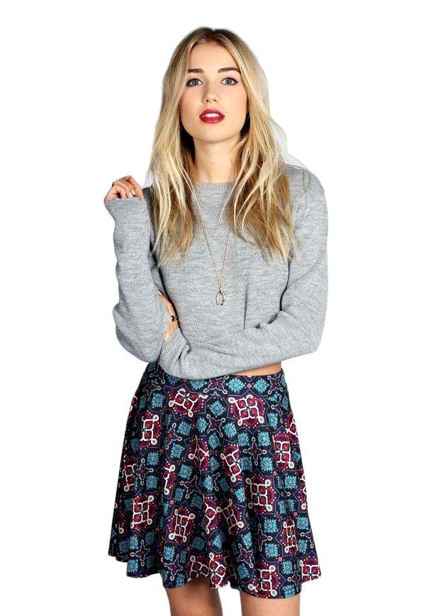 Spódnica w orientalne wzory w odcieniach niebieski - CHICLOOK-PL - Spódniczki mini