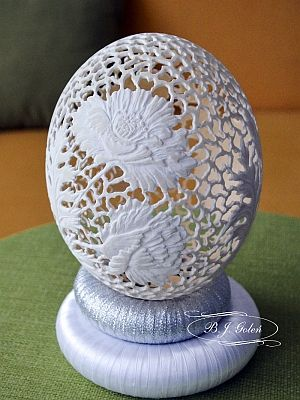 european egg art i carved ostrich egg, pisanka