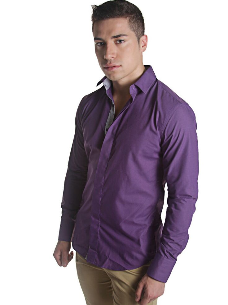 Purple shirt slim fit inner stripes